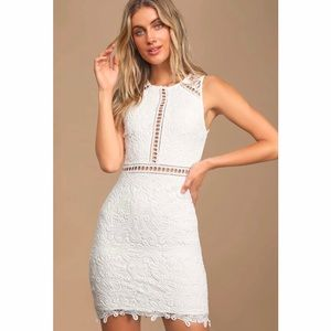 Lulu's Dream Life White Lace Bodycon Dress